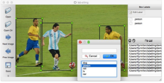 LabelImg screen grab of soccer players being identified