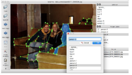 Labelme screen grab annotating people sitting