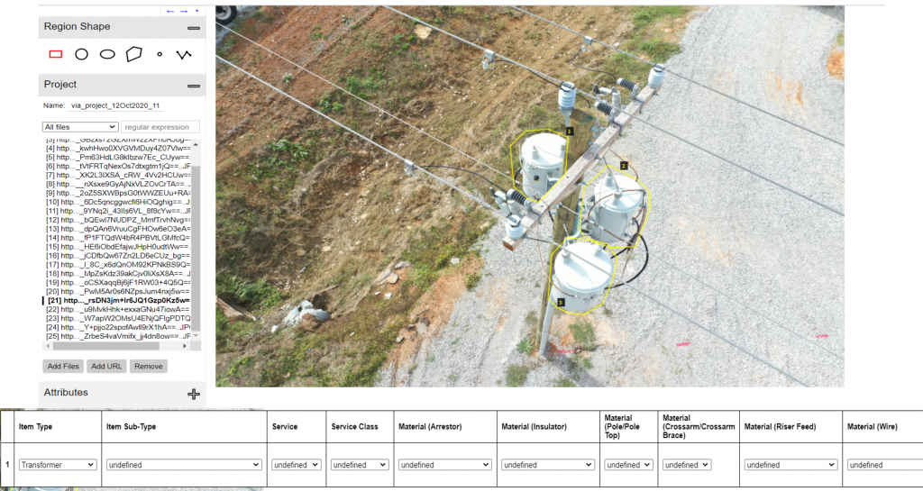 digital transformation and AI visualization of bounding boxes on utility pole tops