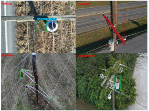 digital transformation and AI visualization of bounding boxes identifying utility pole