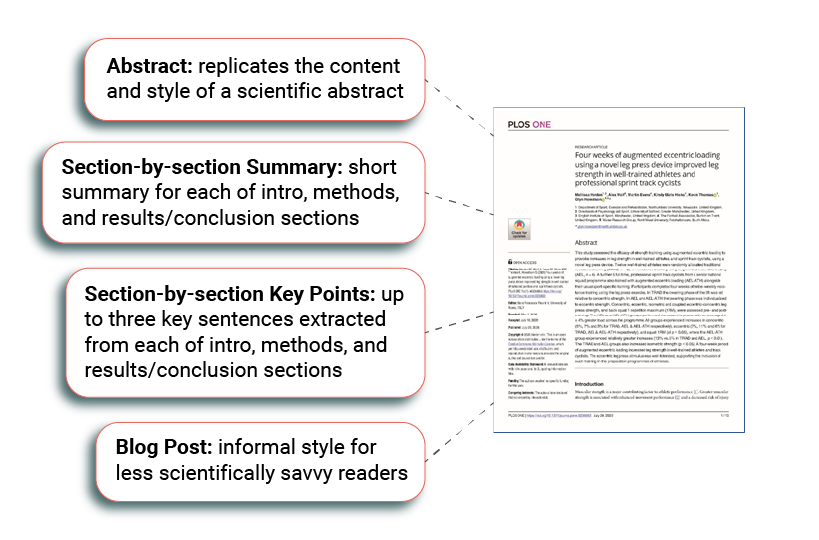 summarizing text with AI different summary sections from research paper